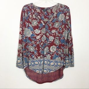 Lucky Brand Burgundy Floral Border Top- M